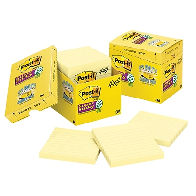 Post-it® Super Sticky Notes Cabinet Pack,  4 x 4, Canary Yellow, Lined, 90 Sheets/Pad, 12 Pads/Pack (675-12SSCP)