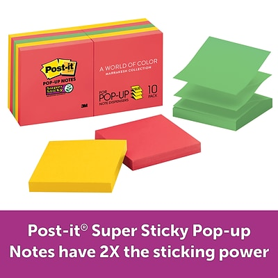 Post-it® Super Sticky Pop-up Notes, 3 x 3, Rio de Janeiro Collection, 90 Sheets/Pad, 10 Pads/Pack (R330-10SSAN)
