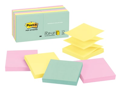 "Post-it® Pop-Up Notes, 3"" x 3"", Marseille Collection, 12 Pads (R330-12AP)"