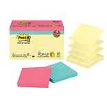 Post-it® Pop-Up Notes Value Pack, 3 x 3, Canary Yellow, Assorted Colors, 18 Pads/Pack (R330-14-4B)