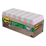 Post-it® Recycled Super Sticky Notes, 3 x 3, Bali Collection, 70 Sheets/Pad, 24 Pads/Pack (654-24N