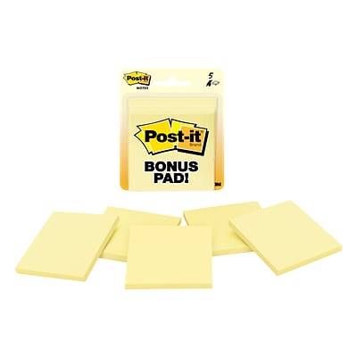 Post-it® Notes, 3 x 3, Canary Yellow, 4/Pads (5400)