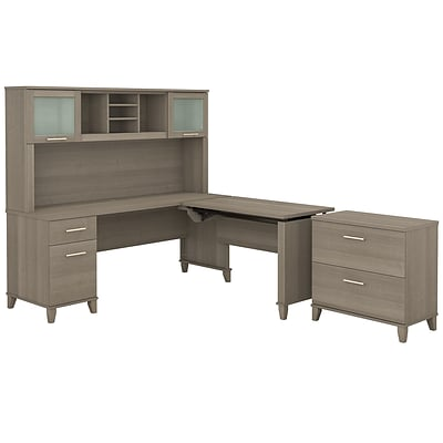 Bush Furniture Somerset 72W 3 Position Sit To Stand L Shaped Desk With  Hutch And File Cabinet, Ash G | Quill.com