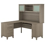 Bush Furniture Somerset 60W L Shaped Desk with Hutch, Ash Gray (SET002AG)