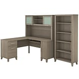 Bush Furniture Somerset 60W L Shaped Desk with Hutch and 5 Shelf Bookcase, Ash Gray (SET010AG)
