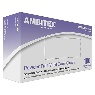 Ambitex V200 Series Latex Free Clear Vinyl Gloves, Medium, 100/Box (VMD200)