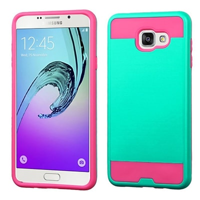 Insten Hard Hybrid Dual Layer Silicone Cover Case For Samsung Galaxy A7 (2016) - Teal/Hot Pink