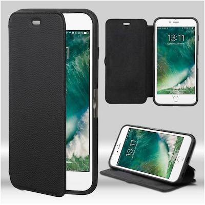Insten Full Grain Genuine Leather Neourban Myjacket Wallet (with Natural Black/black Tray) For Apple Iphone 7/ 8, Black