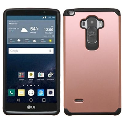 Insten Hard Hybrid Silicone Cover Case For LG G Stylo - Rose Gold/Black