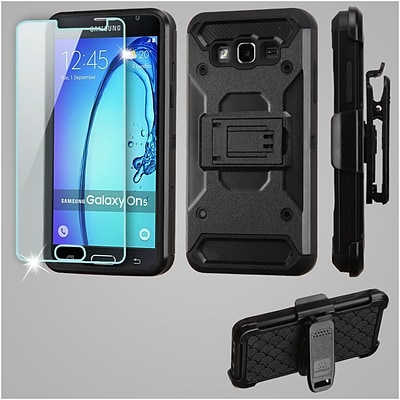 Insten Kinetic Hard Dual Layer Holster Case (with Tempered Glass Screen Protector) For Samsung Galaxy On5 - Black