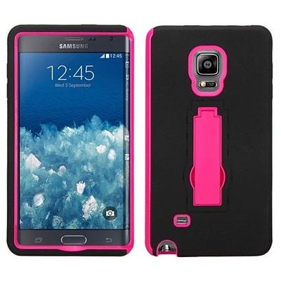 Insten Black/Hot Pink Symbiosis Dual Layer Hybrid Stand Hard Silicone Case For Samsung Galaxy Note Edge