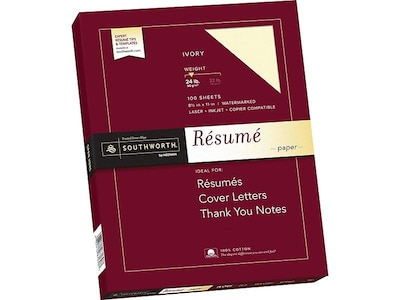"Southworth 8.5"" x 11"" Resume Paper, 24 Lbs., Wove, 100/Box (R14ICF)"