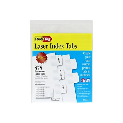 Redi-Tag Laser Tabs, White, 1.13 Wide, 375/Pack (39017)