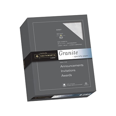 Southworth Granite 8.5 x 11 Specialty Paper, 24 Lbs., Smooth, 500/Box (914C)