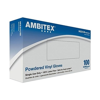 Ambitex V5101 Series Latex Free Clear Vinyl Gloves, Medium, 100/Box (VMD5101)