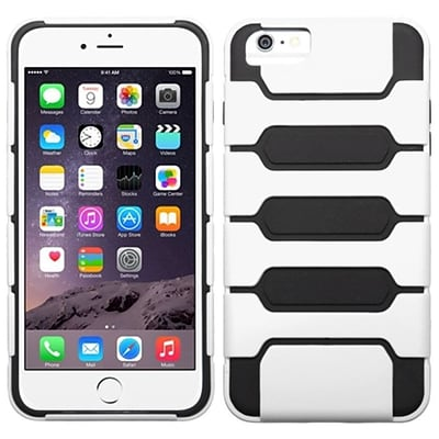 Insten Hard Hybrid Rugged Shockproof Case For iPhone 6 Plus / 6s Plus - White/Black
