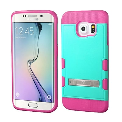 Insten Hard Rubberized Silicone Cover Case w/stand For Samsung Galaxy S6 Edge - Teal/Hot Pink