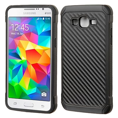 Insten Hard Hybrid Rugged Shockproof Rubber Silicone Cover Case For Samsung Galaxy Grand Prime - Black