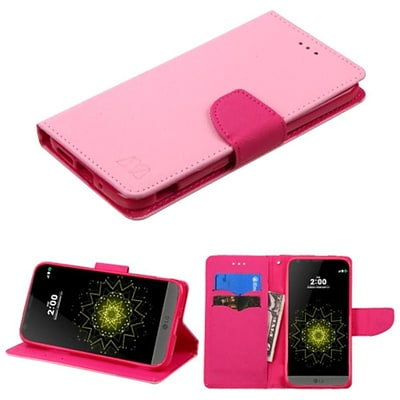 Insten Folio Leather Wallet Case with card slot For LG G5 - Pink