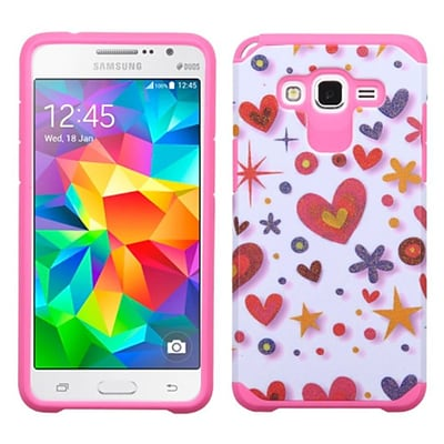 Insten Heart Graffiti Hard Dual Layer Rubber Coated Silicone Case For Samsung Galaxy Grand Prime - Hot Pink/White