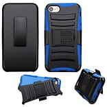 Insten Hard Dual Layer Hybrid Case with Holster Belt Clip Kickstand For iPhone 7/ 8, Black/Blue