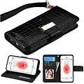 Insten Black Crocodile Embossed Wallet Leather Case For iPhone SE 5 5S (with Lanyard / Card Cash slo