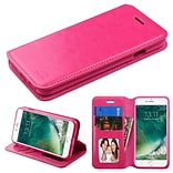 Insten Flip Leather Cover Stand with card slot & photo display For Apple iPhone 7/ 8, Hot Pink
