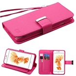 Insten Folio Leather Wallet Stand Case with Lanyard for Apple iPhone 7 Plus - Hot Pink