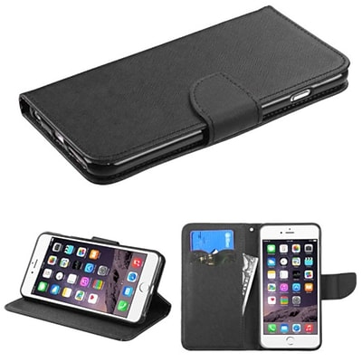 Insten Book-Style Leather Fabric Case w/stand/card slot For Apple iPhone 6 Plus/6s Plus - Black