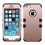 Insten Tuff Hard Dual Layer Silicone Cover Case For Apple iPhone 5/ 5S/ SE - Rose Gold/Black