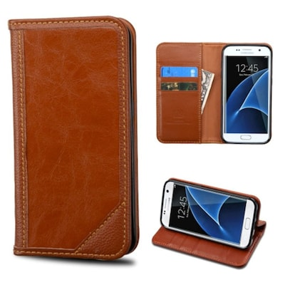 Insten Book Style Leather Fabric Cover Case W/stand/card Holder For Samsung Galaxy S7 Edge Brown