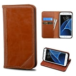 Insten Book-Style Leather Fabric Cover Case w/stand/card holder For Samsung Galaxy S7 Edge - Brown