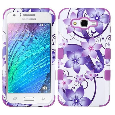 Insten Tuff Hibiscus Flower Romance Hard Hybrid Rubber Silicone Case For Samsung Galaxy J7 (2015) - Purple/White