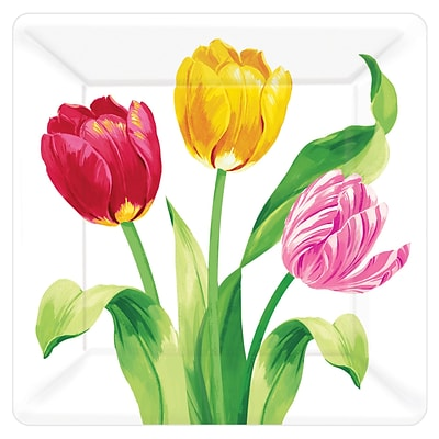 Amscan Easter Bright Tulips 7 in. Square Plate, Pack of 5 (541196)