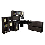 Bush Furniture Cabot L Shaped Desk w/ Hutch, 6 Cube Organizer and Lateral File Cabinet, Espresso Oak