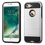 Insten Dual Layer Soft TPU Hard Plastic Ultra Slim Case For iPhone 7 - Silver/Black