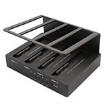 Syba USB 3.0+eSATA Quad Bay HDD Docking, 1:3 Cloning Feature, Non-Raid, Black, JMicron JMS567+JMB391