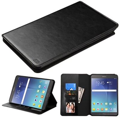 Insten Flip Leather Fabric Case w/stand/card slot/Photo Display For Samsung Galaxy Tab A 8 - Black