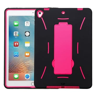 Insten Soft Hybrid Rubber Hard Case w/stand For Apple iPad Pro (9.7) - Black/Hot Pink