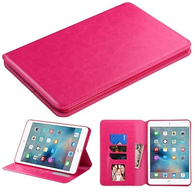 Insten Premium Slim fit Leather Stand Case for Apple iPad Mini 4 4th Gen 2015 (with Card Slot Holder) Hot Pink (2165156)