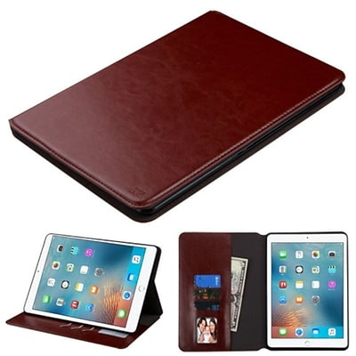 Insten Book-Style Leather Fabric Cover Case w/stand/card holder/Photo Display For Apple iPad Pro (9.7) - Brown