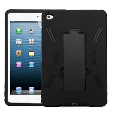 Insten Hybrid Dual Layer PC/Silicone Rugged Case Cover w/ Kickstand Impact Resistant, Apple iPad Mini 4 2015 - Black (2166887)