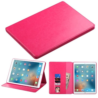 Insten Folio Leather Fabric Cover Case w/stand/card holder/Photo Display For Apple iPad Pro (12.9) - Hot Pink