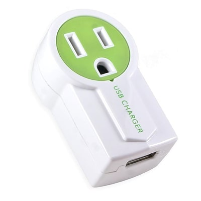 Connectland Single US Plug Wall Electrical Outlet with USB Output Green