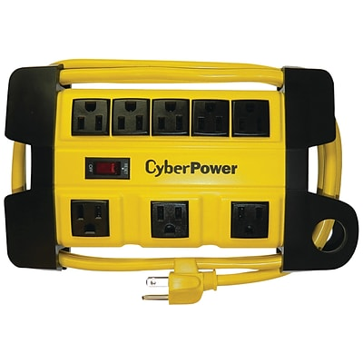 CyberPower 6 Cord 8-Outlet Heavy-Duty Power Strip, Yellow (CYBDS806MYL)