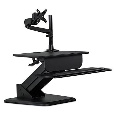 mount it mi 7911 sit stand desk converter and height adjustable monitor mount combo workstation. Black Bedroom Furniture Sets. Home Design Ideas