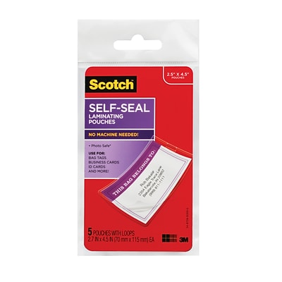 Scotch® Self-Sealing Laminating Pouches, Bag Tags, 5 Pouches (LS853-5G)