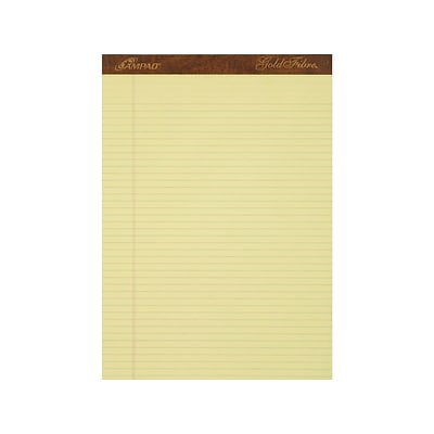 Ampad Gold Fibre Notepads, 8.5 x 11.75, Narrow Ruled, Canary, 50 Sheets/Pad, 12 Pads/Pack (TOP 20-022)