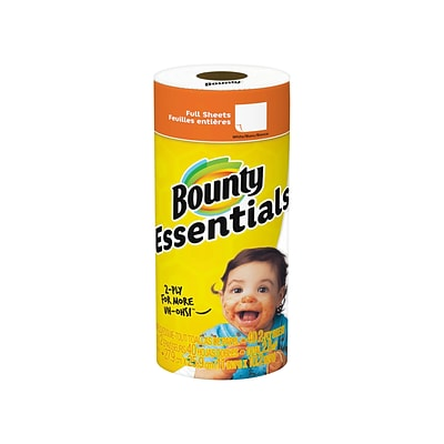 Bounty Essentials Full Sheet Kitchen Rolls Paper Towels, 2-Ply, 40 Sheets/Roll, 30 Rolls/Carton (74657)