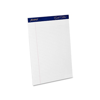 Ampad Gold Fibre Notepads, 8.5 x 11.75, Narrow Ruled, White, 50 Sheets/Pad, 12 Pads/Pack (TOP 20-072)